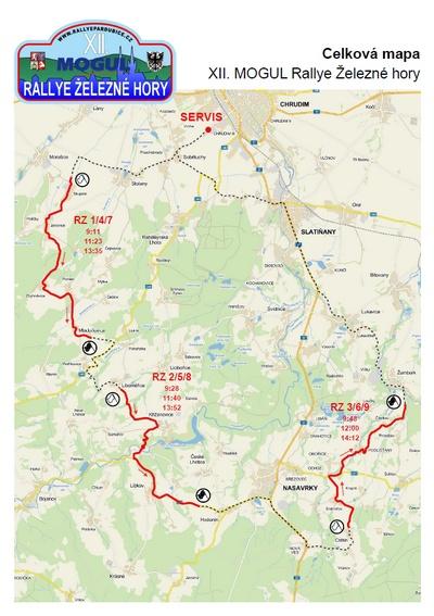 Mapa 12. Rallye Železné hory